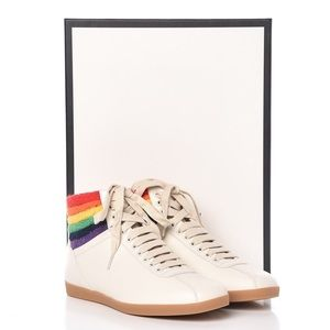 Gucci Calfskin Bambi Rainbow High Top Sneakers
